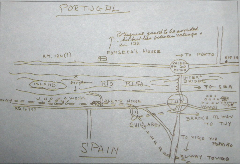 Mapa de huida hacia Portugal dibujado por Eduardo Martínez