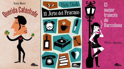 Portadas de Querida Catástrofe (de Teresa Moure), El arte del fracaso (de Berta Dávila) y El mejor francés de Barcelona (de Bieito Iglesias)
